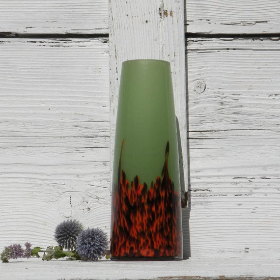 Small vintage colored glass vase, green and orange vase, French vintage glass vase, mid-century vase, coloured glass vase, 1950s glass vase