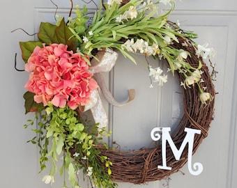 Large Wreath, Year Round Wreath, Spring Wreath, Summer Wreath, Hydrangea Wreath
