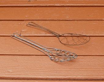 Pair Wire Spatulas, Vintage Kitchen Spatulas, Old Spoon Spatulas, Antique Wire Cooking Tools