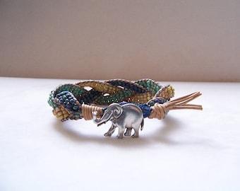 Pewter Elephant Beaded Braided Leather Wrap Cuff Bracelet, Elephant Bracelet, Elephant Jewelry, Leather Jewelry, Leather Cuff Bracelet