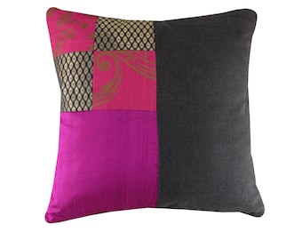 Pink and Grey Cushion Cover, Linen and Silk Cushion
