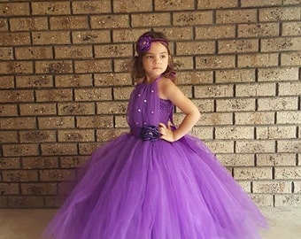 Purple with rhinestone  Flower Girl Tutu Dress, Purple Tutu Flower Girl Dress, Can be made in different Color