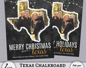 Texas TX Christmas Card State Chalkboard Chalk Holiday Photo PSD PhotoShop Template Greeting with Back - 4x6, 5x7 - Instant Download