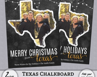 Texas TX - Christmas Card State Chalkboard Chalk Holiday Photo PSD PhotoShop Template Greeting with Back - 4x6, 5x7 - Instant Download