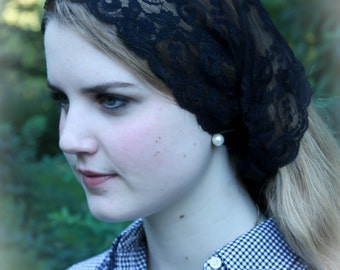 Evintage Veils~ So Soft Headwrap Embroidered Chantilly  Lace Headband Kerchief Tie-style Head Covering Church Veil
