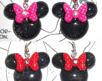 Minnie Mouse red or pink polka dot bow glitter earrings