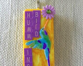 "Upcycled ""Hummingbird and Flower"" Mixed Media Domino Pendant"