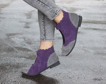 Purple Suede Boots, Ankle Boots, Purple Leather Booties, Purple Boots, Winter Shoes, Purple Shoes, Flat Boots, Ankle Boots, , Free Shipping