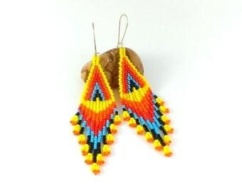 Yellow earrings Orange jewelry Beaded earrings Native style flame earrings Sunny earrings Resort earrings Fringe earrings Yellow blue gift