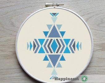 modern cross stitch pattern, geometric ornament , navajo, triangles, PDF pattern ** instant download**