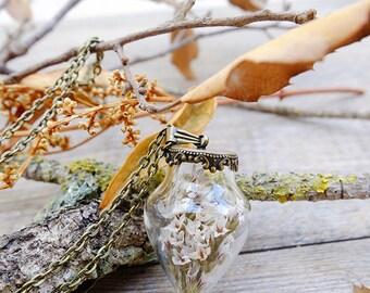 Pendulum necklace,real flower necklace,terrarium necklace,woman gift,botanical necklace,vial pendant,glass flower pendant,nature necklace
