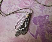 Strange Magic - brass heart - Butterfly Bog - fairy wings - fairy love necklace