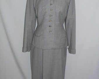 Vintage 1940's Light Gray Wool Suit by Lamour for Shephard Department Store