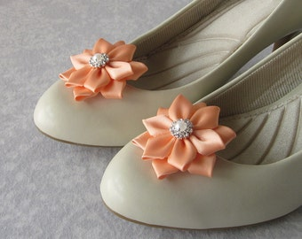 Peach Satin Flower Shoe Clips, Pearl, Rhinestone, Gold or Silver Metal, Bride, Flower Girl, Bridesmaids, Wedding, Coral, Salmon