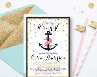 Nautical baby girl shower invitation, Baby Shower nautical Invitation, girl Nautical Shower Invite, Anchor Shower Invitation, gold, MM, GO