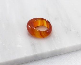 Orange Dome Ring/ Orange Thumb Ring/ Orange Stone Ring/ Orange Agate Ring/ Solid Agate Ring