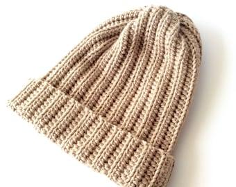 Tan Brown Crochet Slouchy Beanie for Men or Women