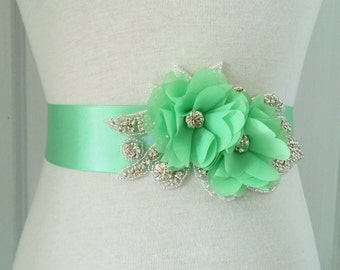 Mint Bridal Sash-Mint Flower Sash-Mint Sash-Mint Wedding Belt-Maternity Belt-Mint Maternity Sash-Rhinestone Mint Chiffon Flowers Sash