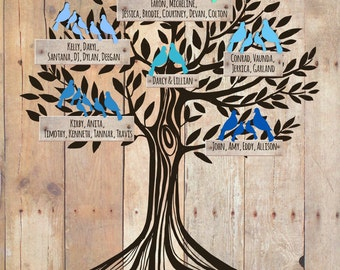 Grandchildren Family Tree with grandkid's names,Gift for Parents, Christmas Gift, Personalized Grandparent Gift, Art print 11x14