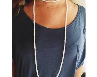 White Double Wrap Necklace