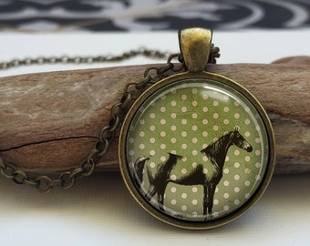 Retro Horse necklace.  Horse art pendant jewelry (horse #9)