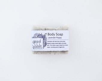 Lavender Poppy Soap -All Natural Soap, Handmade Soap, Lavender Soap, Vegan Soap, Exfoliating Soap