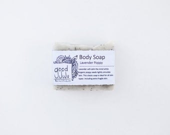 Lavender Poppy Soap - All Natural Soap, Handmade Soap, Lavender Soap, Vegan Soap, Exfoliating Soap, Sensitive Skin Soap, Bath and Body Soap