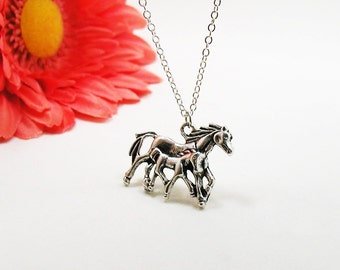 Silver Mommy and Baby Horse Necklace - Silver Horse Necklace - Baby Horse Necklace - Equestrian Necklace - Horse Lover Necklace - Pony Charm