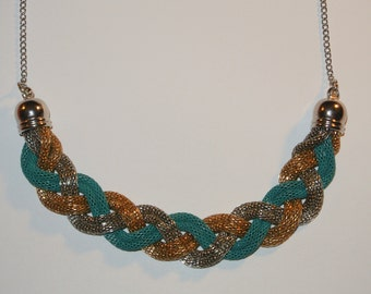 Gold Silver Turquoise Braided Chain Necklace