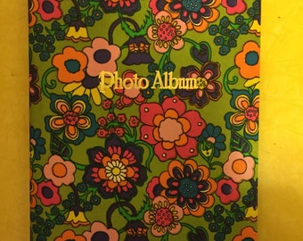 60's Floral Photo Alum. 1960's Green, Pink, and Purple Psychedelic Flower Photography Book. Instamatic