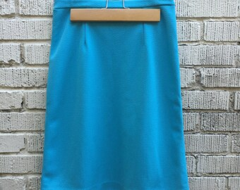 60s Blue Skirt. 1960s High Waist Skirt. Medium.