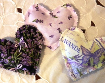 Dried Lavender Filled Heart Shaped Sachet Trio