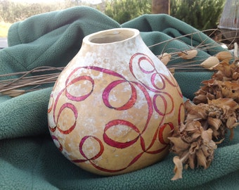 """Decorative gourd, """"Ribbons of Love"""", painted gourd"""