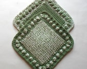 Thick Hot Mats, Set of Two Crochet Trivets, Large Hot Pads, Double Thick Pot Holders, Table Trivets, Optional Hanging Tab