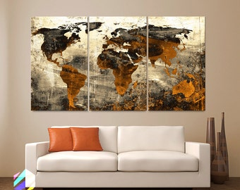 World map metal wall art etsy ca large 30x 60 3 panels art canvas print world map abstract background texture sciox Choice Image