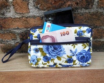 Beautiful Navy Blue Flower Coin Purse With Double Zip Pocket,iPhone & Mobile Holder,Blue Flower Clutch,Change Pouch,Card Holder,Gift For Her