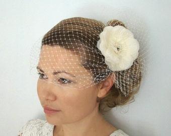 Birdcage Veil with Flower - Silk Flower Fascinator with Veil, Wedding Veil, Blusher Veil Headpiece Bird Cage Veil, Ivory Birdcage Veil EMMA
