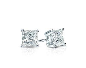 Princess cut diamond studs, gold diamond stud earrings, diamond earring studs, princess cut diamond earrings, wedding earring studs, diamond