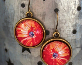 Orange Poppy Flower Floral Earrings Antique Brass Finish Pierced Ear Dangle Earrings