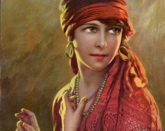 Vintage German magazine cover illustration gypsy fortune teller in fringed shawl digital download printable instant image