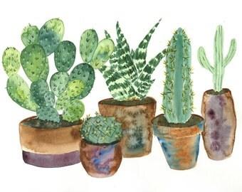 Five Baby Cacti- Digital Download