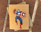 Vintage Marvel Avengers/Civil War-Captain America Comic Book Greeting Card (Blank)