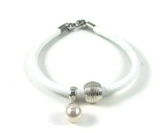 White Leather Charm Bracelet, Genuine Leather, European Bracelet, Women's Bracelet, Leather Jewlery, Womens Leather Charm Bracelet