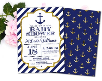 Nautical Baby Shower Invitation, Anchor Baby Shower Invitation, Printable Baby  Shower Invites For Boys