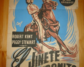 Original 1946 The Phantom Rider Argentinian One Sheet Movie Poster, Western, Country, Cowboy