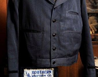 Vintage Wool Gaberdine 1940's Peak Lapel Work - Railroad Jacket M/L