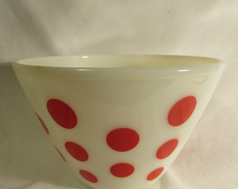 FireKing, Large Bowl, Mixing, Serving, Red Polka Dots, 1950's
