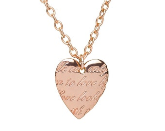 Rose Gold Love Heart Necklace | Delicate Rose Gold Engraved Heart Necklace | Gift Boxed Rose Gold Necklace