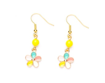 Beaded Flower Earrings | Pastel Flower Charm Earrings | Gold Plated Earrings | Beaded Charm Earrings