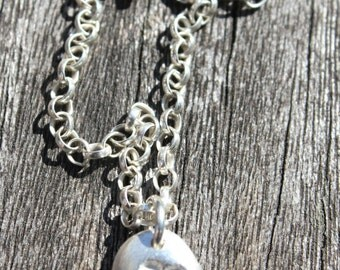 Silver pebble flower pendant, embossed flower necklace, silver pebble necklace, pebble necklace, pebble pendant